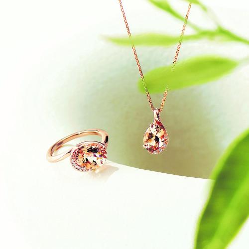 K18PG モルガナイト/ダイヤモンドリング、ネックレス