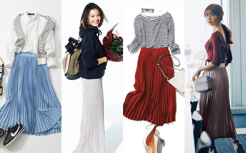 プリーツスカートコーデ。今回はレディース向けにプリーツスカートを使ったコーデをご紹介。黒のプリーツスカートや白のプリーツスカート、春夏秋冬でのプリーツ