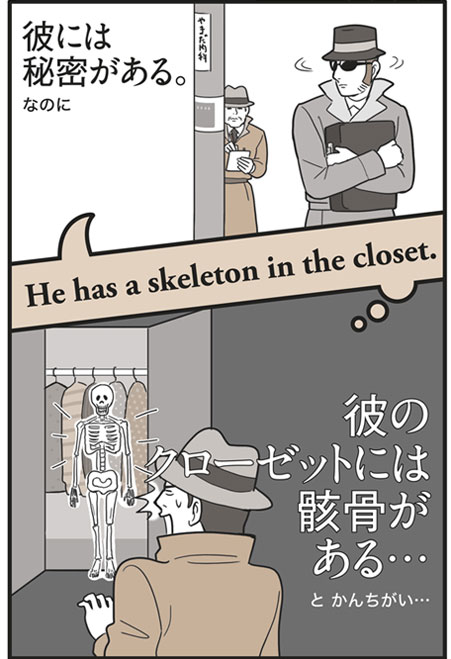 「He has a skeleton in the closet.」の意味は…「彼には秘密がある。」