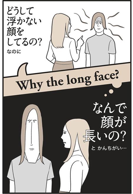 「Why the long face?」の意味は…「どうして浮かない顔をしてるの?」