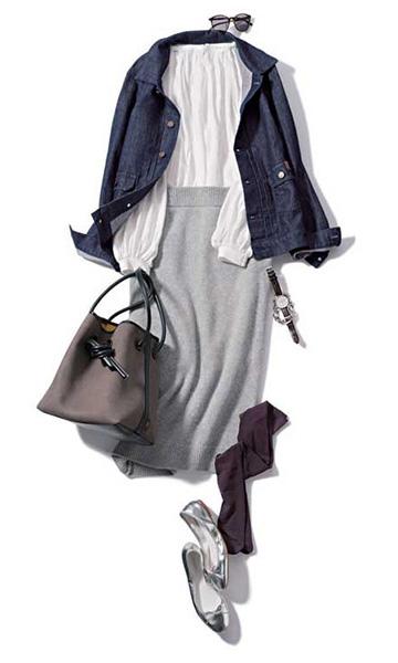 グレーニットタイトスカート×白ブラウス×Gジャン