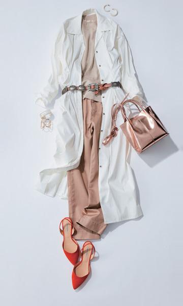 【2】白シャツジャケット×チノパン