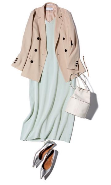 【1】ebureのミントカラーワンピース×ベージュスカート