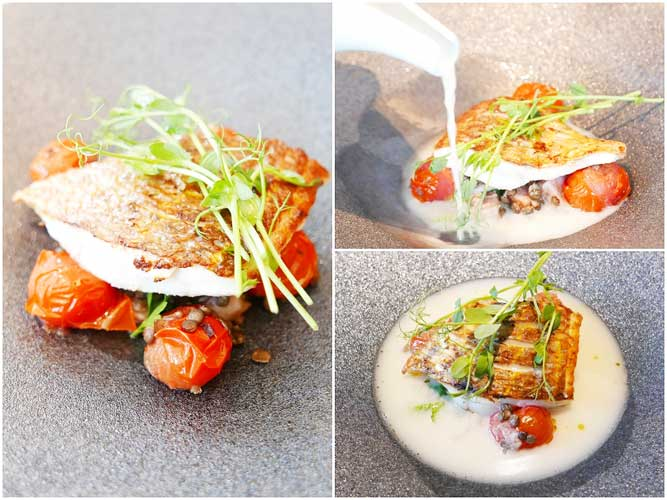 本日の魚のグリル レンズ豆&桜スモークウッドベーコン スモークトマトブロス