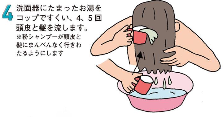育毛「粉シャンプー」の使い方 4.洗面器にたまったお湯をコップですくい、4、5回頭皮と髪を流します。