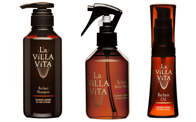 La ViLLA ViTAのヘアケアアイテム「シャンプー」「ミスト」「オイル」