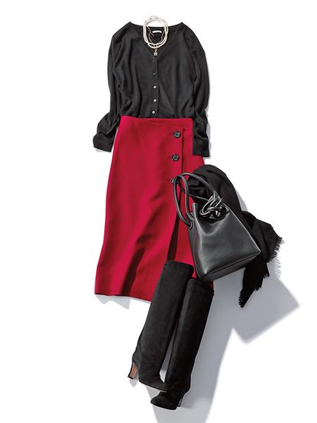 【DAY14】朝比奈 彩「1か月コーディネート」 赤スカート