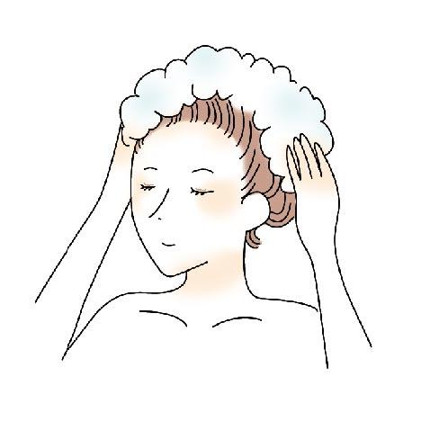 適量を手にとって頭皮をマッサージするように洗ってからすすぐ