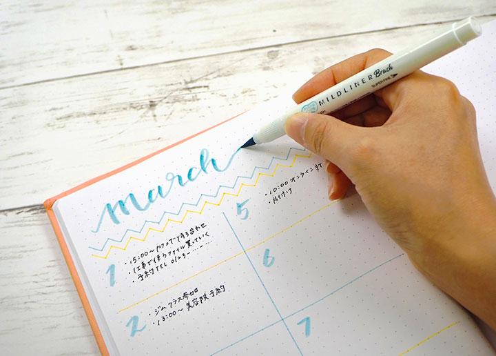 1本で筆タイプと極細の丸いペン先が使える両用
