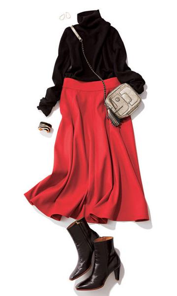 黒ニット×赤フレアスカート
