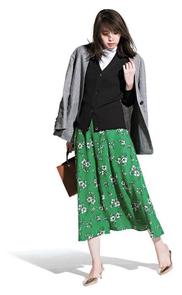 【1】黒カーディガン×花柄スカート×グレージャケット