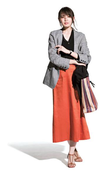 オレンジスカート×グレージャケット