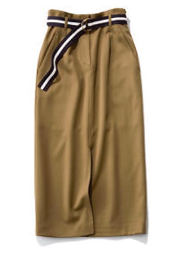ベルト付きカーキスカート
