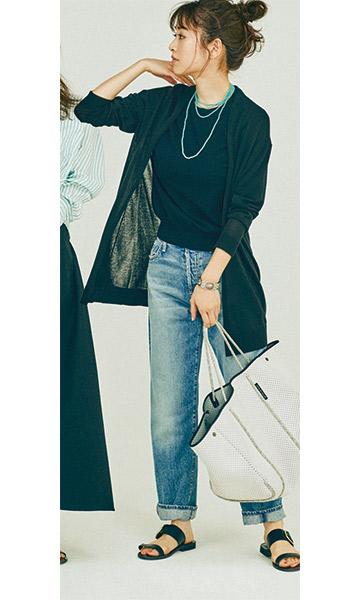 【3】色落ちジーンズ×黒ニット×黒ロングカーディガン