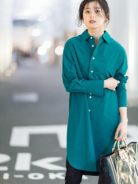 【3】グリーンシャツワンピース×黒レギンス