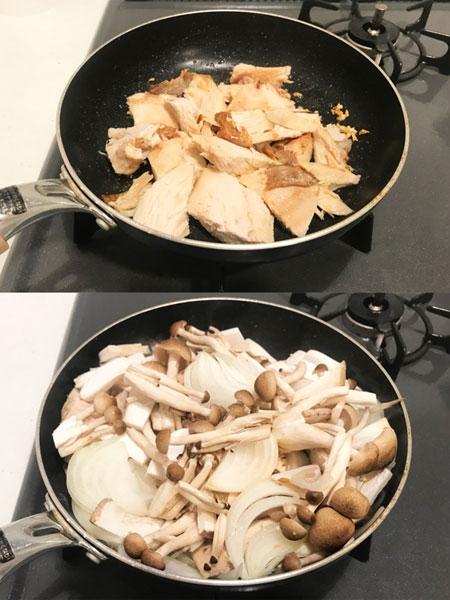 チキン・玉ねぎ・きのこを入れて炒める