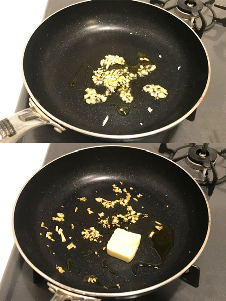 にんにくをバターで炒める