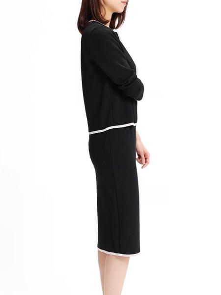 デミルクス ビームスのスカートスーツ シルエット