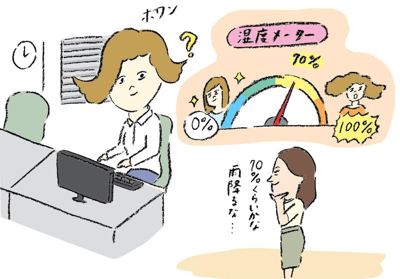 梅雨の時季、クセ毛の同僚がオフィスの湿度計と化す