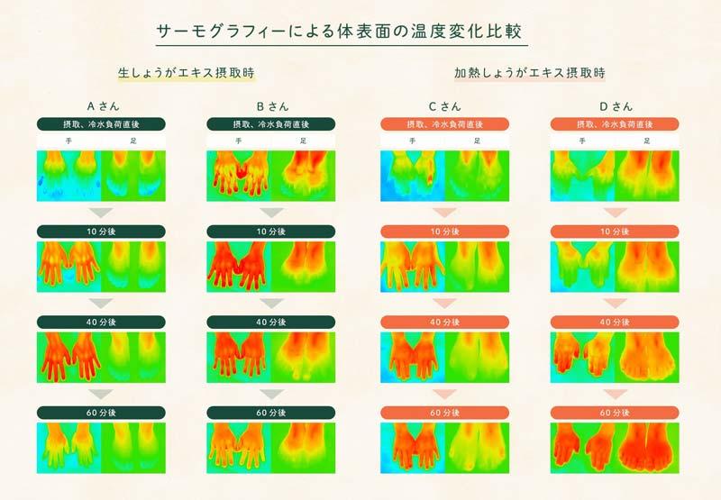 サーモグラフィーによる体表面の温度変化比較