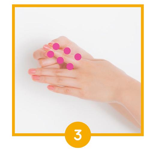 指の側面の3か所をプッシュ