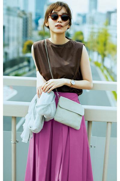 パープルピンクのフレアスカート 03