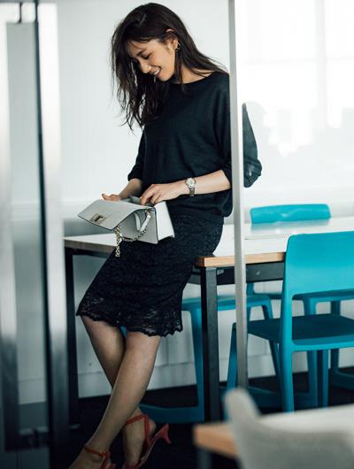 【6】ネイビーシアーニット×ネイビーレーススカート