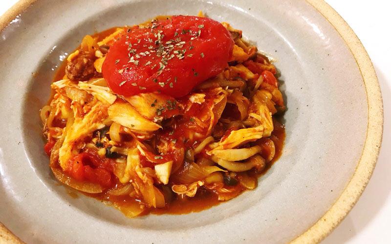 ロティサリーチキンを使い切りレシピ「トマト煮込み」