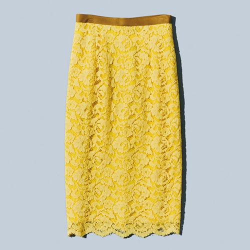 【ミモザイエロー】「マルティニーク|martinique」のレースタイトスカート