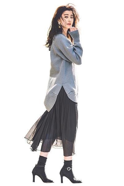 黒ロングスカート×グレーロングニット