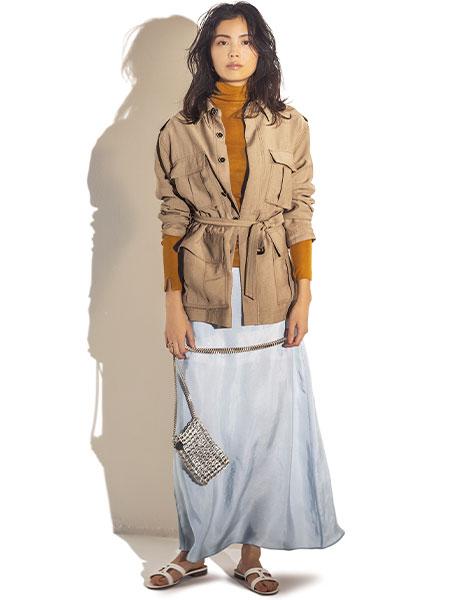 サファリジャケット×スカート