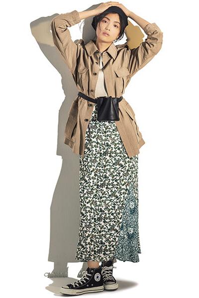 花柄スカート×サファリジャケット
