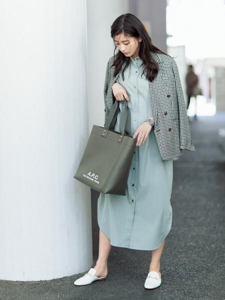 【1】セージ色シャツワンピース×チェック柄ジャケット