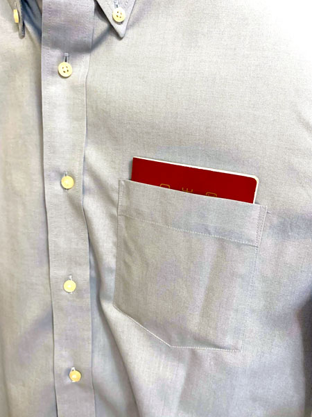 ファインクロススーパーノンアイロンスリムフィットシャツ 胸元のポケット