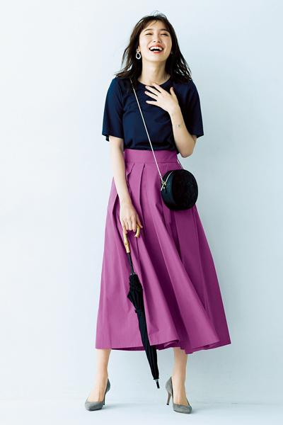 パープルピンクのフレアスカート