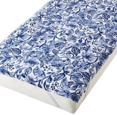 ふわろ ベッドパッド ボタニカルブルー