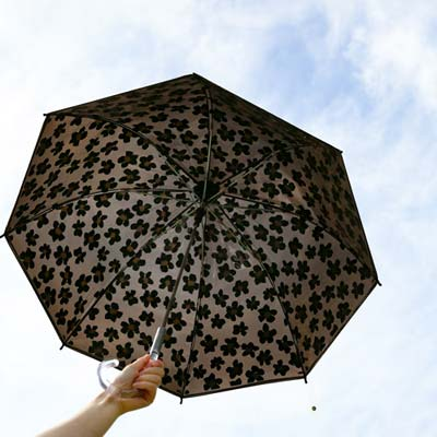 プリュイ フラワー ビニール傘 58cm ブラウン