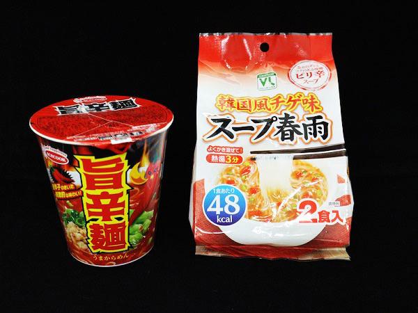 「エースコック旨辛麺」「VLスープ春雨 韓国風チゲ味」