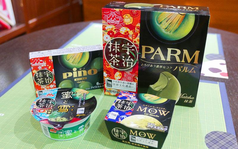 「ピノ×マーマレード」「パルム×キャラメルアーモンド」「モウ×ベリーソース」「蜜と雪×練乳フルーツ」
