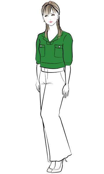 グリーンのサマーニット×白のワイドパンツ
