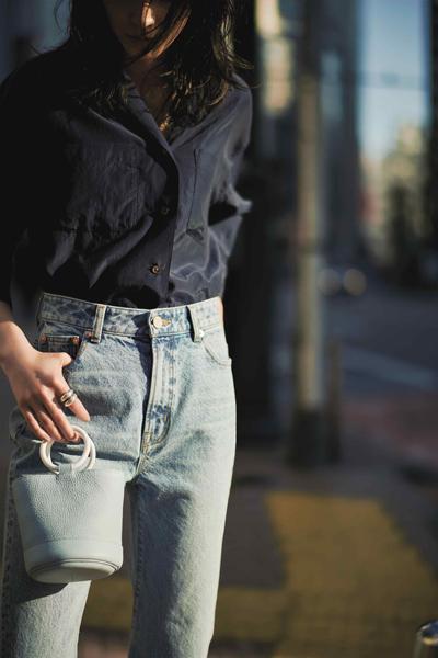 紺シャツ×ブルーデニム