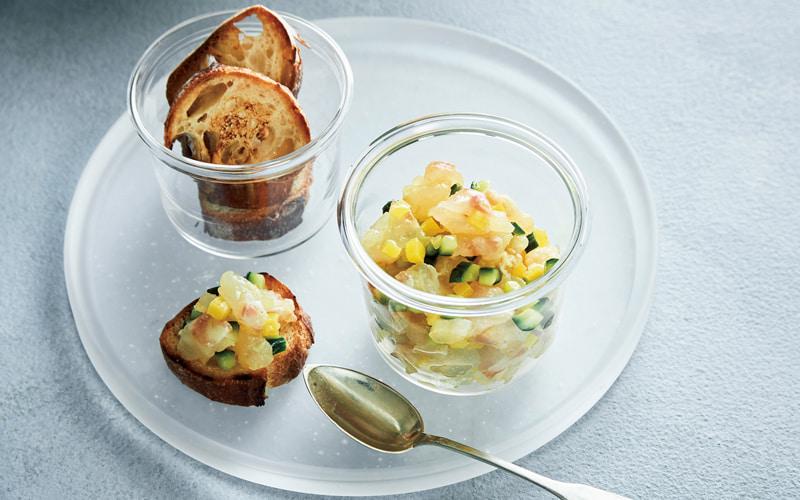 鯛と漬物のタルタルディップ&トーストバゲット