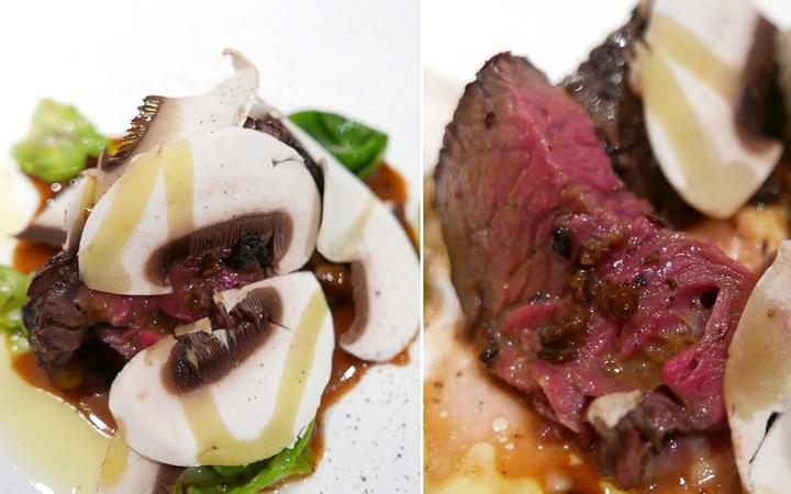 秋川牛ランプ肉のロースト モリーユ茸のソースで