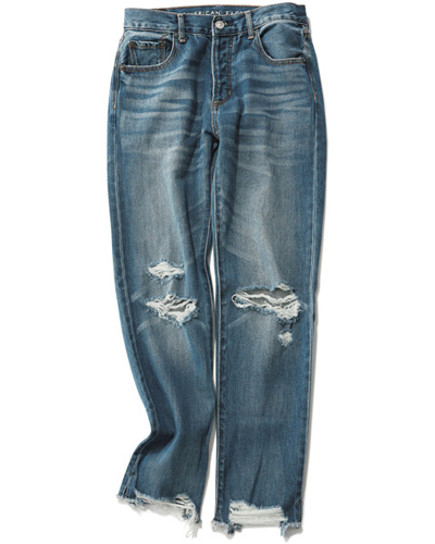 【1】【AMERICAN EAGLE OUTFITTERS|アメリカン イーグル アウトフィッターズ】High-rise girlfriend Dark vintage wash