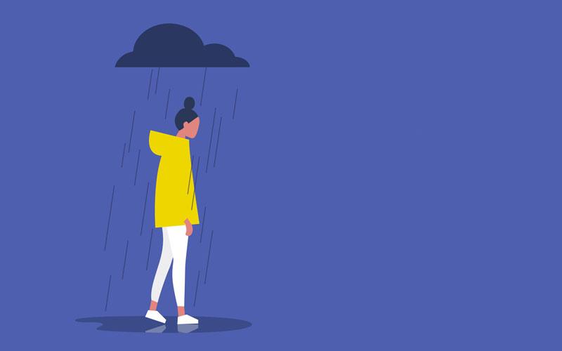 雨にふられる