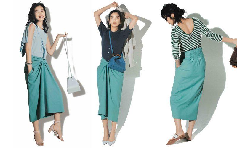 きれい色ブルーのタイトスカート