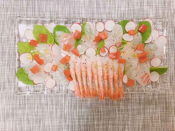 鯛と甘エビのカルパッチョ【檸檬オリーブオイルを使用】