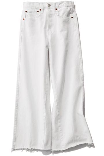 【リダン|RE/DONE】 High-rise wide leg cropped White