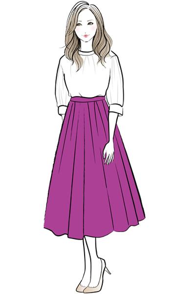 白のブラウス×ピンクの長め丈スカート×ベージュパンプス