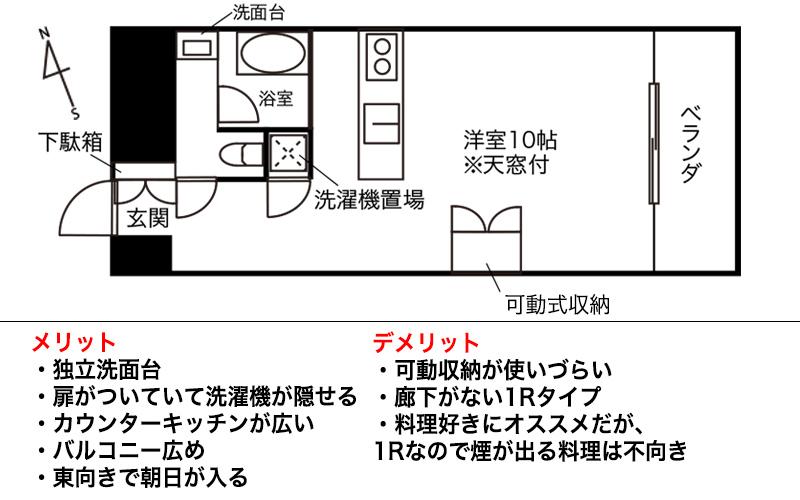 天窓付きのデザイナーズ1K